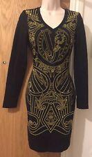 Versace Jeans Women's Black Punto Milano Studded Dress IT 40/UK 8