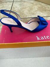 $298 NIB Kate Spade Emelia Blue Satin Sling Back Kitten Heel Bow Shoes Sz 6.5