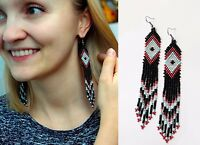 Native American Beaded Earrings, Huichol Earrings with Ojo de Dios, Authentic