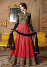 Indian Designer Party Pakistani Work Silk Red UnStitch Salwar Suit Dres Anarkali
