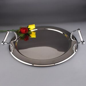 Round Stainless Steel Serving Platter Tray With Swarovski Crystal Filled Handles