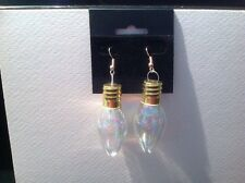 Holiday Christmas Ornament Drop Bulbs Earrings Iridescent