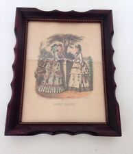 Antique Framed French Fashion Print LA MODE ILLUSTREE Hand Colored Signed