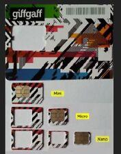 GiffGaff giff gaff UK PAYG SIM CARD Triple Micro Nano Standard FREE £5 CREDIT