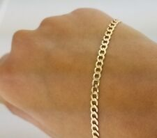 14K Solid Yellow Gold Ankle Bracelet Anklet Curb Link Chain Bracelet 3 mm 8 Inch