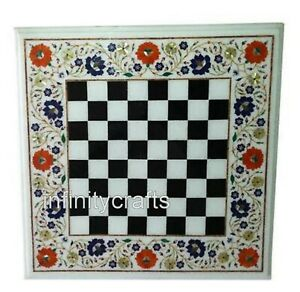 24 x 24 Inches Mable Inlay Chess Table Top Pietra Dura Art Patio Coffee Table