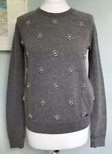 ABERCROMBIE & FITCH Womens Grey Jewelled Embellished Sweatshirt Sz 8 NWT £78