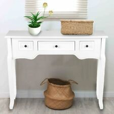 White 3 Drawer Console Table Wood Storage Bedroom Dressing Desk Hallway Kitchen