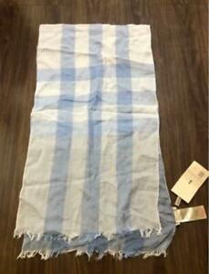 BNWT Burberry blue check 100% cotton scarf made in england 173cm x 30cm