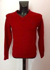 JACK Wills Dark Red & Lana Merino Cotone Collo V Maglione Taglia XS