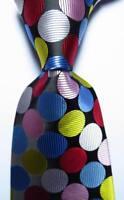 New Classic Polka Dot Black White Red Blue JACQUARD WOVEN Silk Men's Tie Necktie