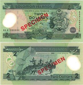 Solomon Islands 2 dollars 2001 year P-23 polymer UNC SPECIMEN