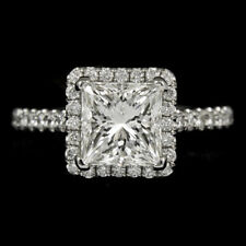 18k White Gold Halo Diamond Ring Princess Cut (2.05ct) GIA Certified