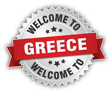 Greece Welcome Label Car Bumper Sticker Decal 5'' x 4''