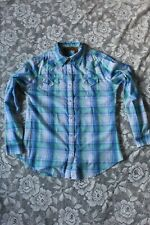 Wrangler Womens Medium Plaid Western Shirt With Pearl Snaps Euc