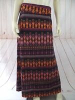 Dynamite Maxi Skirt Small Black Magenta Orange Geometric Rayon Spandex Long Boho