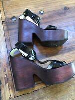 Giuseppe  Zanotti - Women's Patent Leather Wood Platform Sandals - Size 9