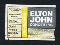 1986 Elton John Concert Ticket Stub Frankfurt Germany Madman