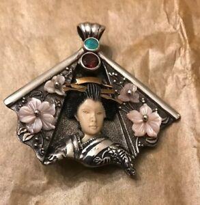 Sterling Pendant Brooch Pin Zealandia 925 Geisha Garnet, Mop,opal 1.75 Inch