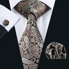 C-1121 Brown Paisleys Tie Hanky Cuff links Sets Silk Classic Jacquard Woven