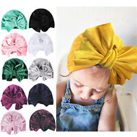 Toddler Newborn Baby Girls Turban Cute Bow Knot Headwrap Beanie Indian Hat Cap