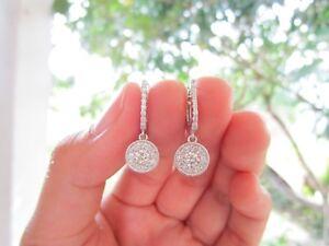 1.50 Carat Face Diamond Illusion Dangling Earrings 18k White Gold E60 sep