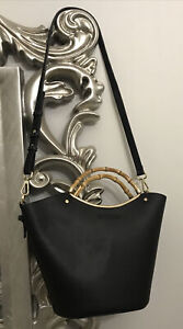 Black Shoulder Bucket Bag Bamboo Handles