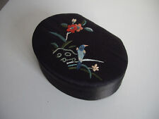 Christmas Gift Silk Covered Padded Jewellery/Trinket/Keepsake Box Black Silk