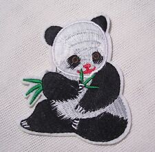 ÉCUSSON PATCH - Ourson Panda Tige Bambou ** 7 x 9 cm ** Applique thermocollante