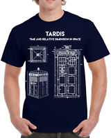 617 Tardis Blue Print mens T-shirt tv show doctor nerd geek vintage retro new