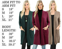 Womens 3/4 Sleeve Slouchy Cardigan Open Front Draped with Pockets Mid Length