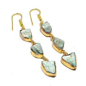 "Caribbean Larimar Gemstone Handmade 925 Sterling Silver Jewelry Earring 2.5"""