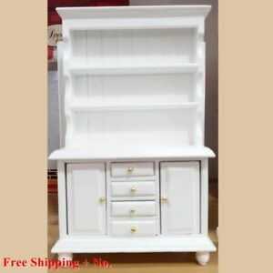 Wood White Cabinet Craft Handcraft Vintage Furniture Show Collectibles Miniature