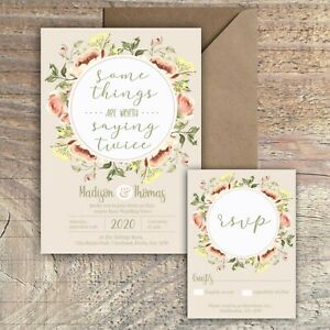 Personalised FLORAL RUSTIC vow renewal wedding invitations packs of 10