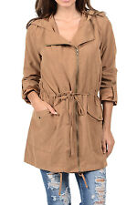 Auliné Collection Womens Peach Skin Asymmetrical Zip Up Hooded Anorak Jacket