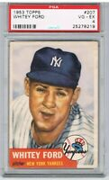 1953 Topps WHITEY FORD #207 Baseball Card Graded PSA VG - EX - 4
