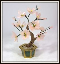 """""""Hand Carved Chinese Rose Quartz Tree in a Brass & Jade Pot"""" (11"""" H x 9"""" W)"""