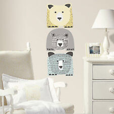 BEARS wall stickers 3 big decals Nursery Bedroom decor Yellow Gray Blue animals