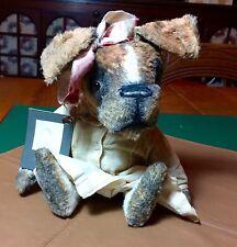 Boxer dog, teddy bear friend, antique style ~ Brady Bears Studio  So Sweet