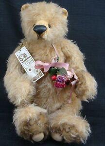 2002 FABIAN'S TEDDY BEARLE 1 OF 1 BELLA  MOHAIR GLASS EYES SUEDE PAWS PELLETS