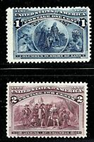 [DF]  US #230 & 231 MNH 1893 1c + 2c 'Columbian Exposition' Stamps...Ships Free!