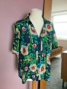 Viyella Beautiful Summer Floral Silk Cotton Blouse Tunic Top  Size 18