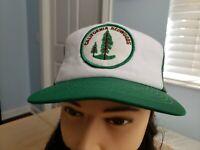Vintage California Redwoods Patch Trucker Mesh Hat Green White Retro Forest