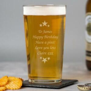 Personalised Stars & Message Pint Glass Birthday Fathers Day Christmas