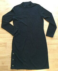 NWT Banana Republic Women Shift Dress Size L Black Mock-neck Button Long Sleeve
