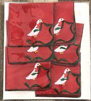 Set of 6 Vtg Hallie St. Mary Cocktail Napkins Embroidered Linen / Polyester NOS