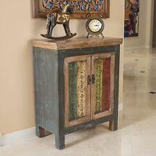 Rustic Inspired Design Multicolor Weathered Wood 2 Door Cabinet