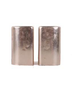 Vintage 60s Mid Century Modern MCM Aluminum Salt Pepper Shaker Set Rose Gold