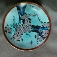 Robin & Cherry Blossoms In Japanese Garden hand painted porcelain plate 1981