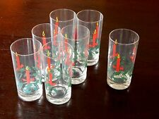 7 Christmas Drinking Glasses Tumblers, Holly, Berries & Lit Candle Design 12 oz.